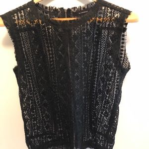 Oliveaceous black lace sleeveless top. Size M.